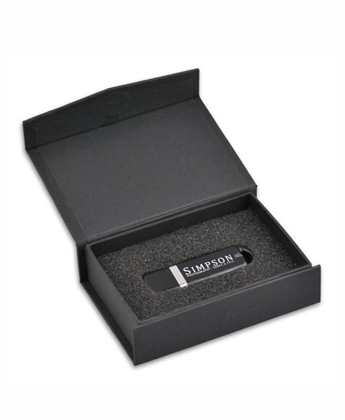 Black USB box with magnetic closure